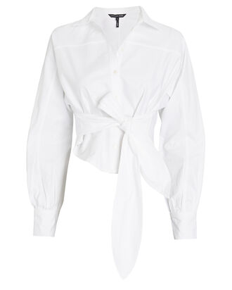 Emmerson Tie-Waist Oxford Shirt, WHITE, hi-res