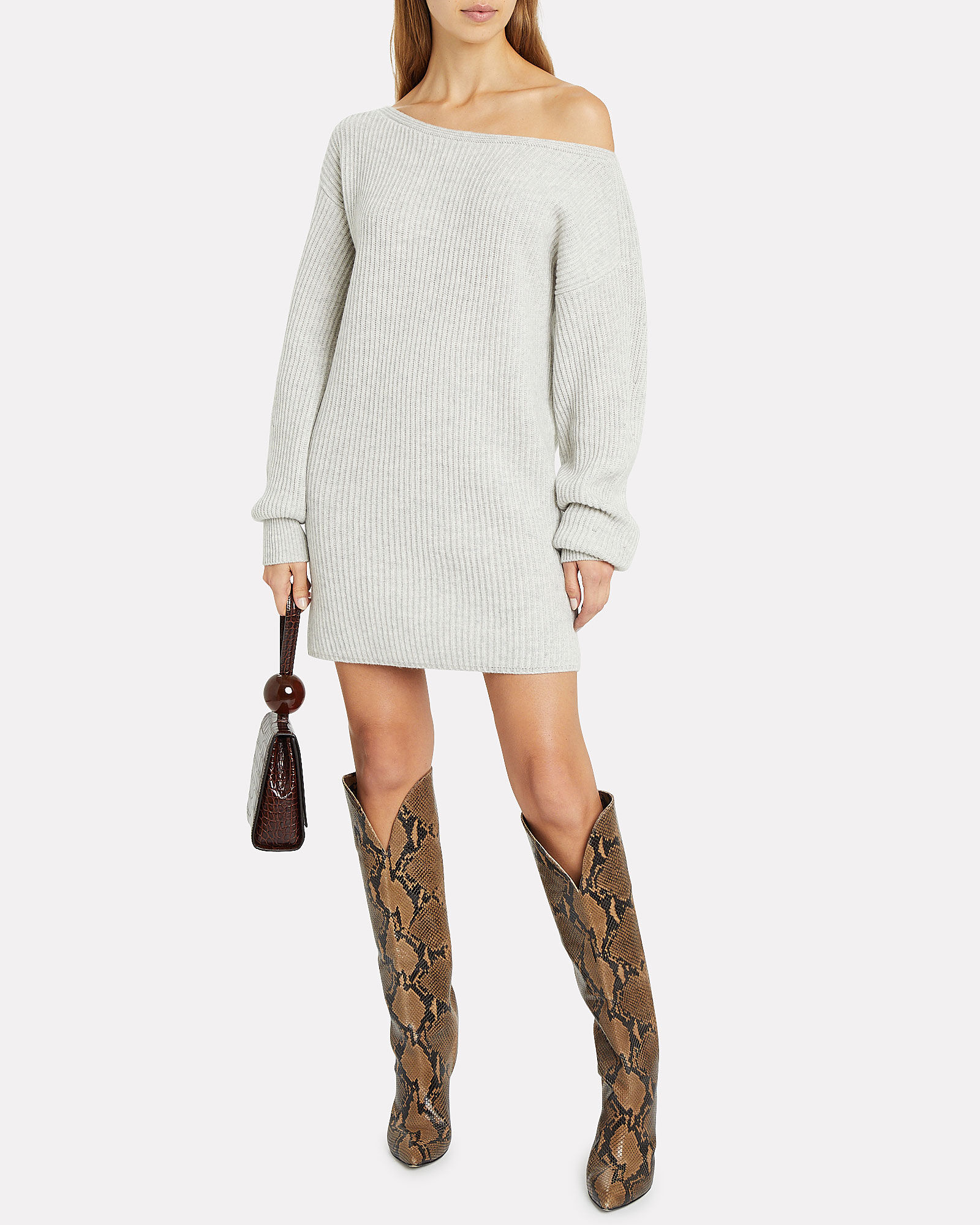 Jackie Wool-Cashmere Sweater Dress, GREY, hi-res