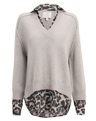 Leopard Layered V-Neck Sweater, BEIGE/LEOPARD, hi-res