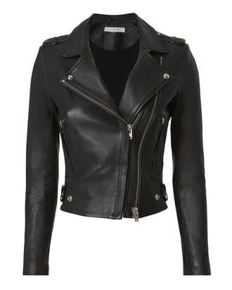 Dylan Black Cropped Moto Jacket, BLACK, hi-res