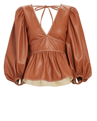 Luna Vegan Leather Puff Sleeve Top, BROWN, hi-res