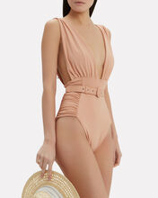 Belted One Piece Swimsuit, BLUSH, hi-res