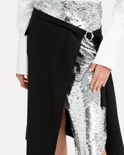 Sequin-Embellished Wrap Skirt, BLACK/SILVER, hi-res