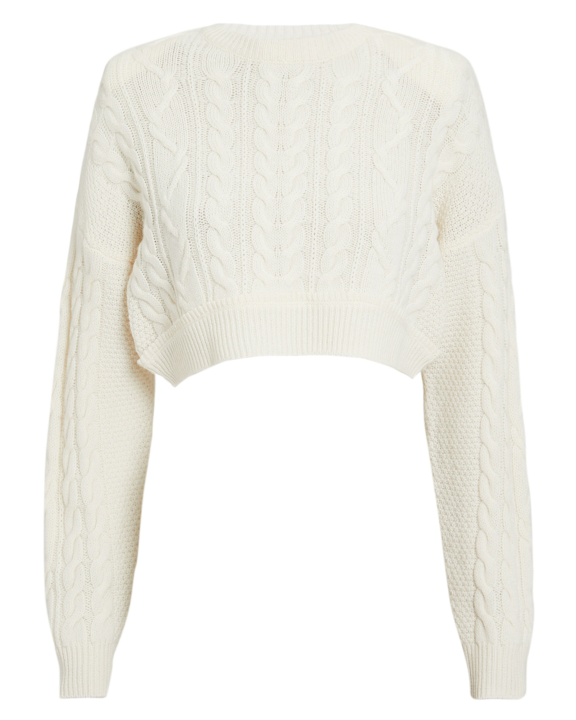 Cable Knit Cropped Sweater, IVORY, hi-res