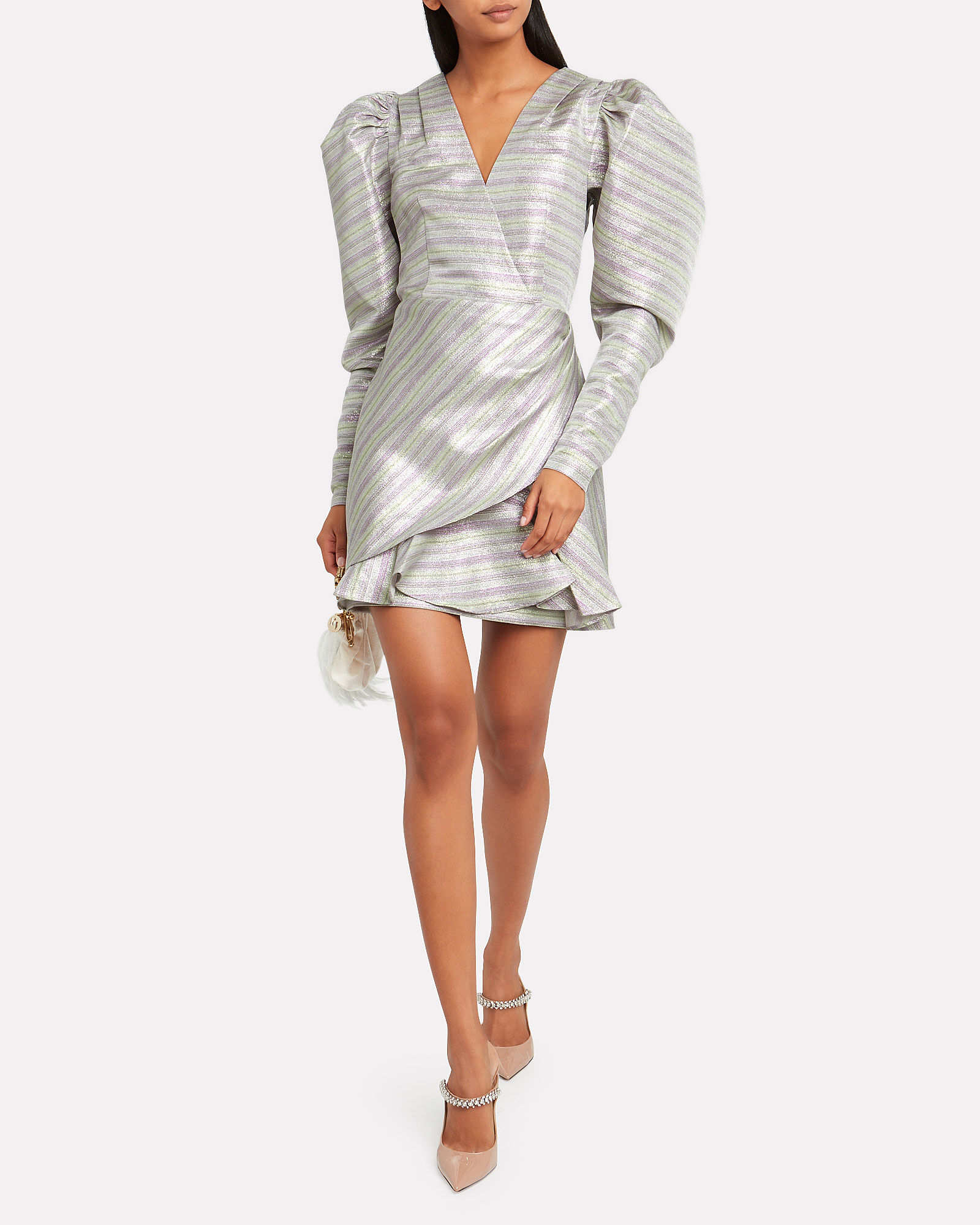 No. 24 Metallic Mini Dress, PURPLE-LT, hi-res