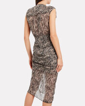 Teagan Ruched Python-Printed Dress, BEIGE, hi-res