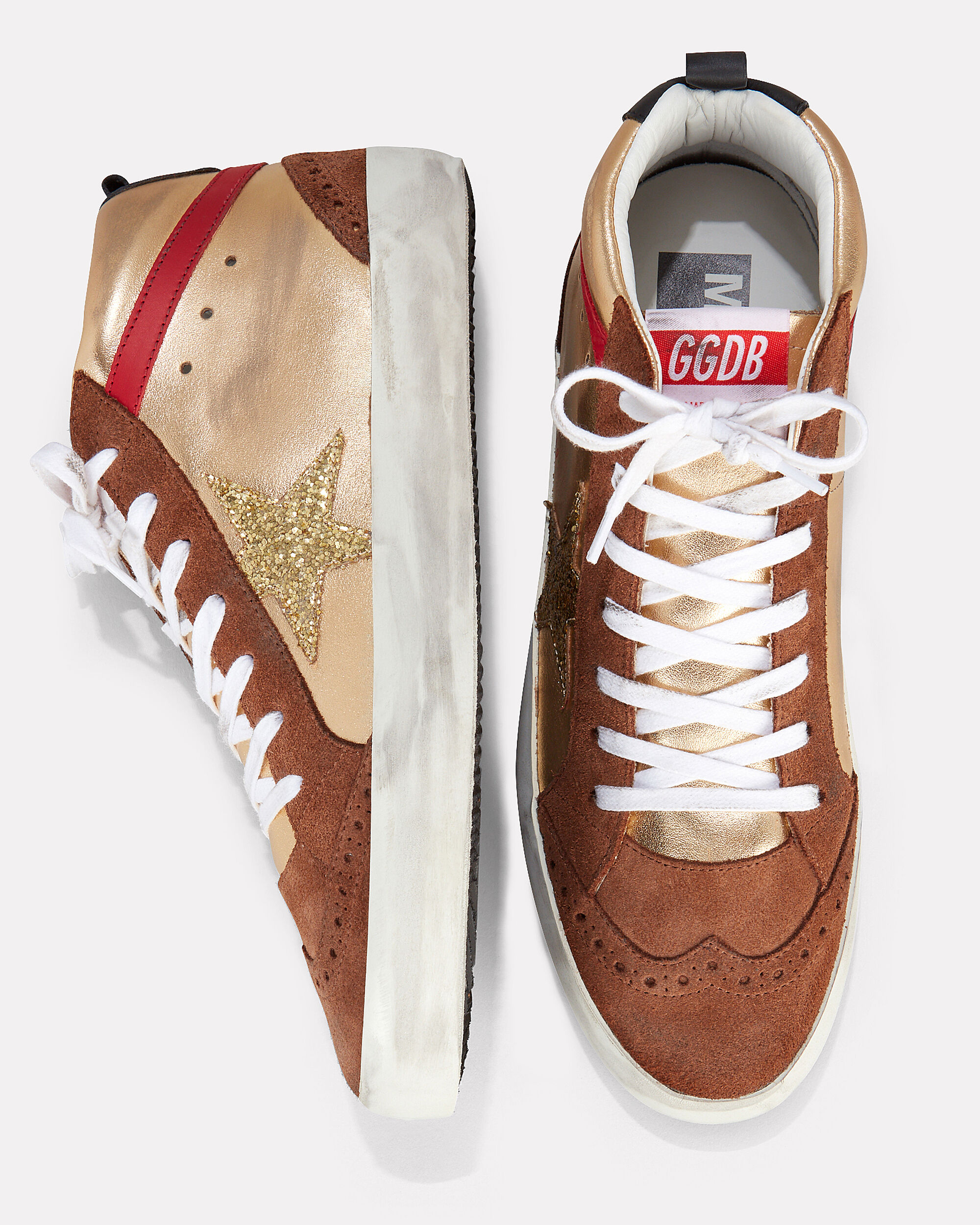 Mid Star Gold Glitter Star Sneakers, GOLD, hi-res