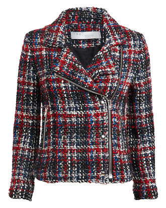 Sloane Tweed Moto Jacket, RED/NAVY PLAID, hi-res