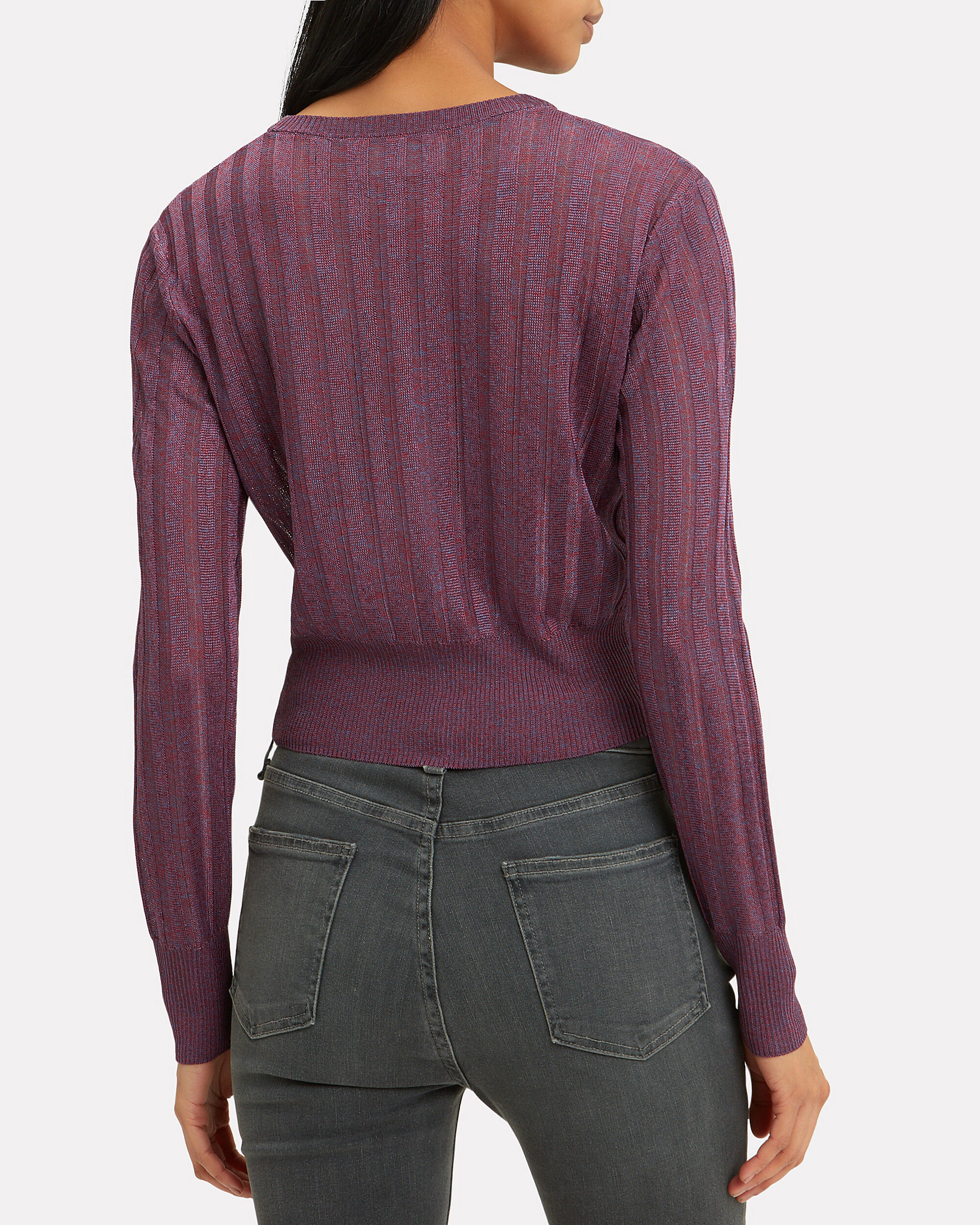 Metallic Knit Cropped Sweater, MAUVE/RED, hi-res