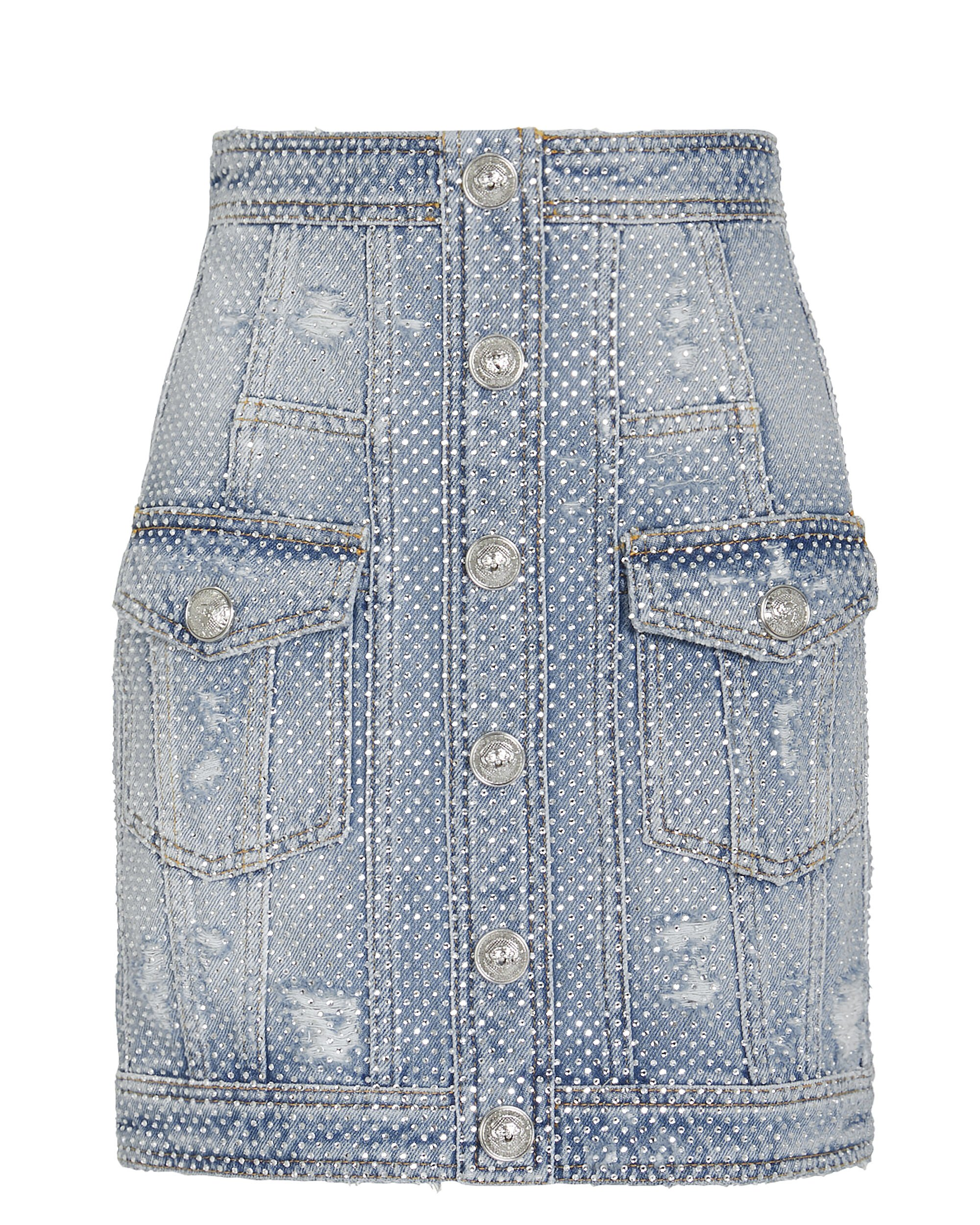 Embellished Denim Skirt, DENIM, hi-res