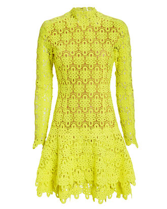 Yellow Guipure Lace Mini Dress, YELLOW, hi-res