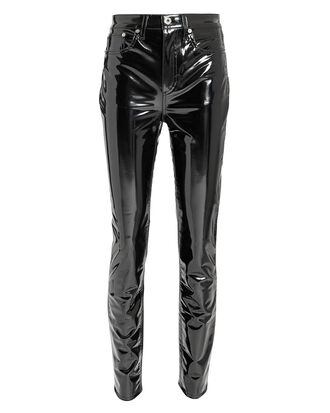 Patent Skinny Pants, BLACK, hi-res