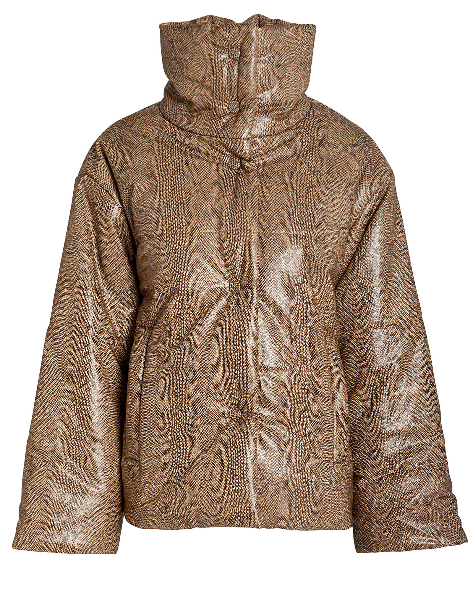Hide Vegan Leather Puffer Jacket, BROWN/PYTHON, hi-res