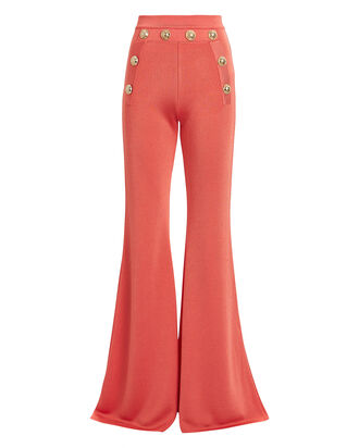 Flared Knit Sailor Pants, CORAL, hi-res