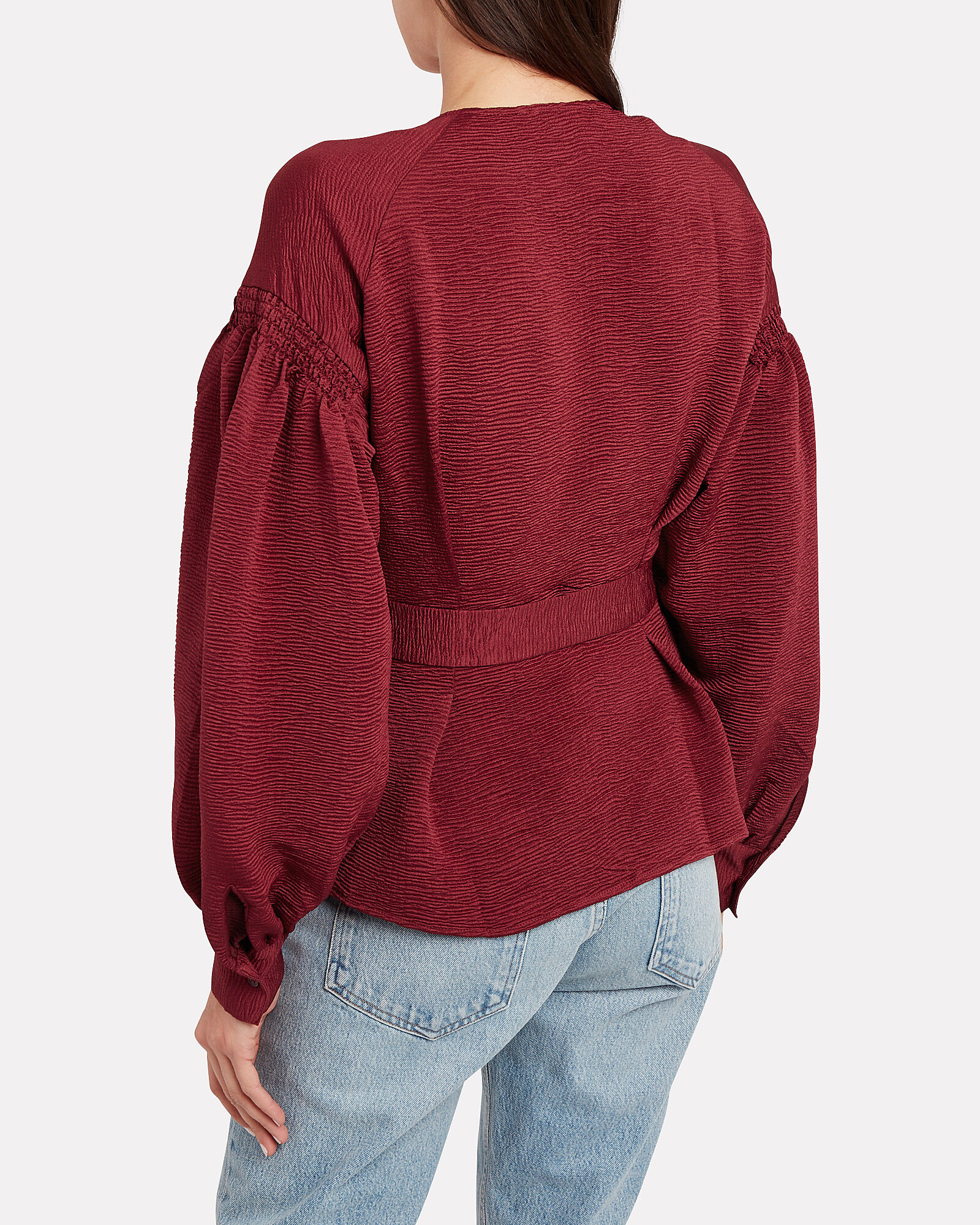 Merrill Satin Wrap Blouse, MERLOT, hi-res