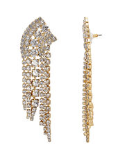Fringed Crystal Earrings, GOLD, hi-res