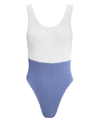 Mackenzie Spliced One Piece Swimsuit, WHITE/BLUE, hi-res
