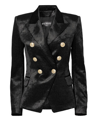 Classic Double-Breasted Glitter Blazer, BLACK, hi-res