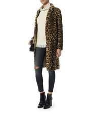 Leopard Pattern Shearling Lamb Coat, PRINT, hi-res