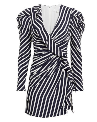 Navy Striped Ruffle Mini Dress, NAVY/WHITE, hi-res
