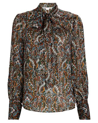 Zaylee Paisley Tie-Neck Blouse, MULTI, hi-res