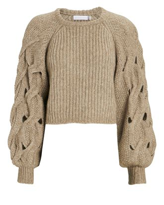 Alexa Cable Knit Sleeve Sweater, BEIGE, hi-res