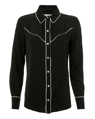 Mayben Western Silk Shirt, BLACK, hi-res