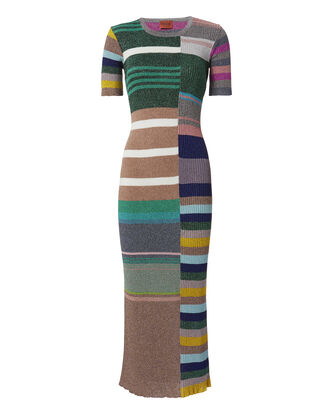 Multicolor Striped Lurex Dress, PATTERN, hi-res