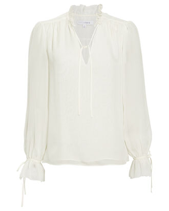 Cody Ruffled Tie Blouse, IVORY, hi-res