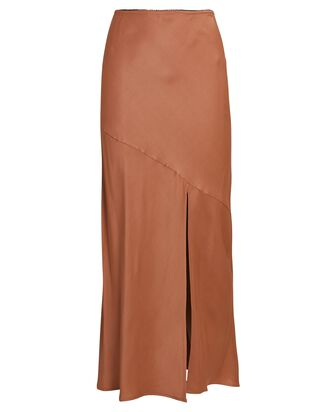 Eve Slit Midi Skirt, PALE ORANGE, hi-res