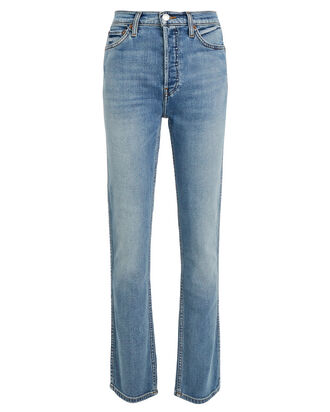 Double Needle Long Straight Jeans, FADED INDIGO DENIM, hi-res