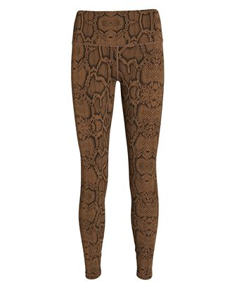 Luna Python Printed High-Rise Leggings, BROWN, hi-res
