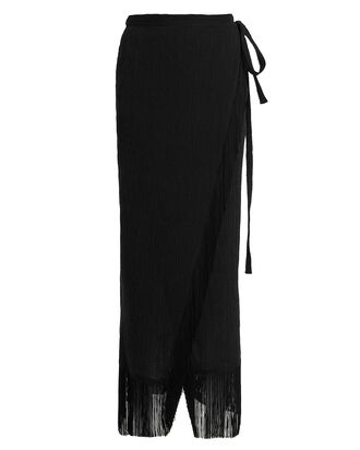Seersucker Fringe Trim Skirt, BLACK, hi-res