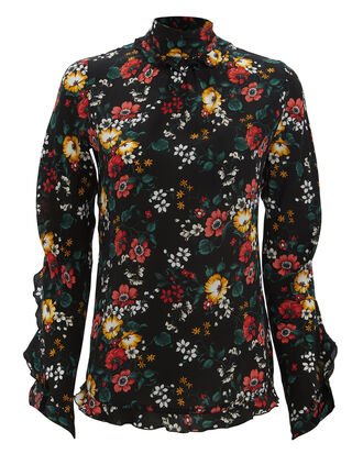 Open Back Floral Blouse, BLACK, hi-res