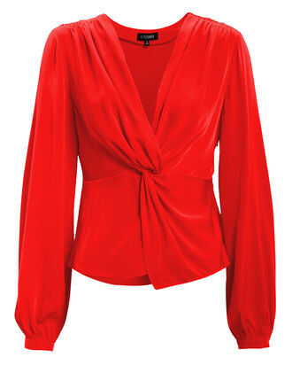 Dawn Silk Knot Front Top, CORAL, hi-res