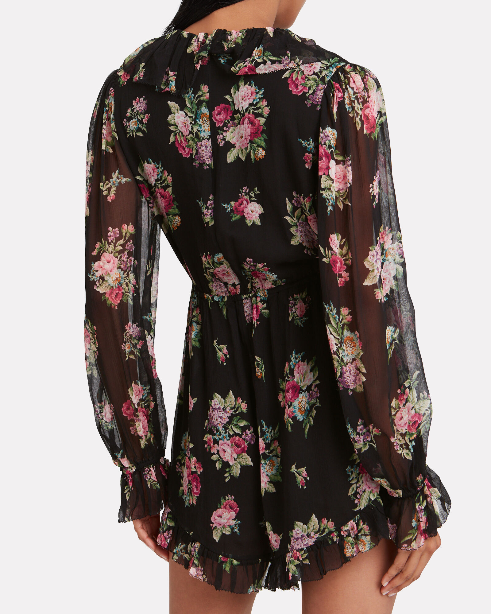 Honour Floral Silk Playsuit, MULTI, hi-res