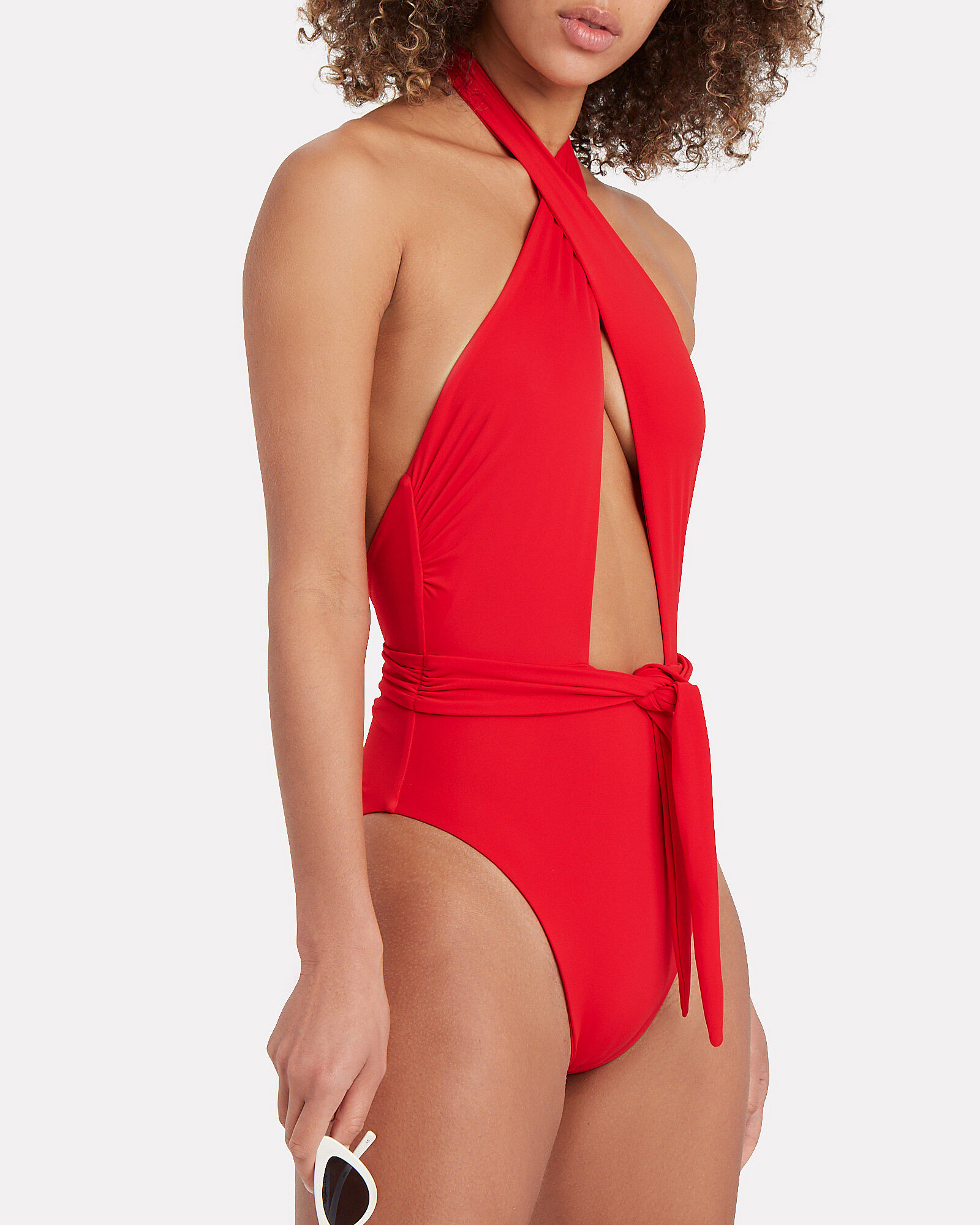 Roni Crossover One-Piece Swimsuit, RED, hi-res