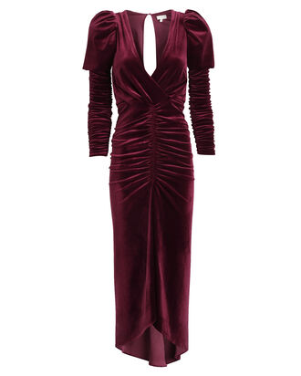 Alicia Velvet Midi Dress, RED-DRK, hi-res