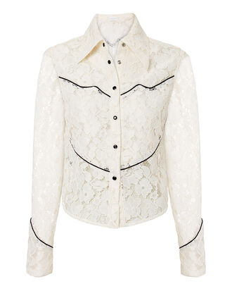 Western Lace Blouse, WHITE/BLACK, hi-res
