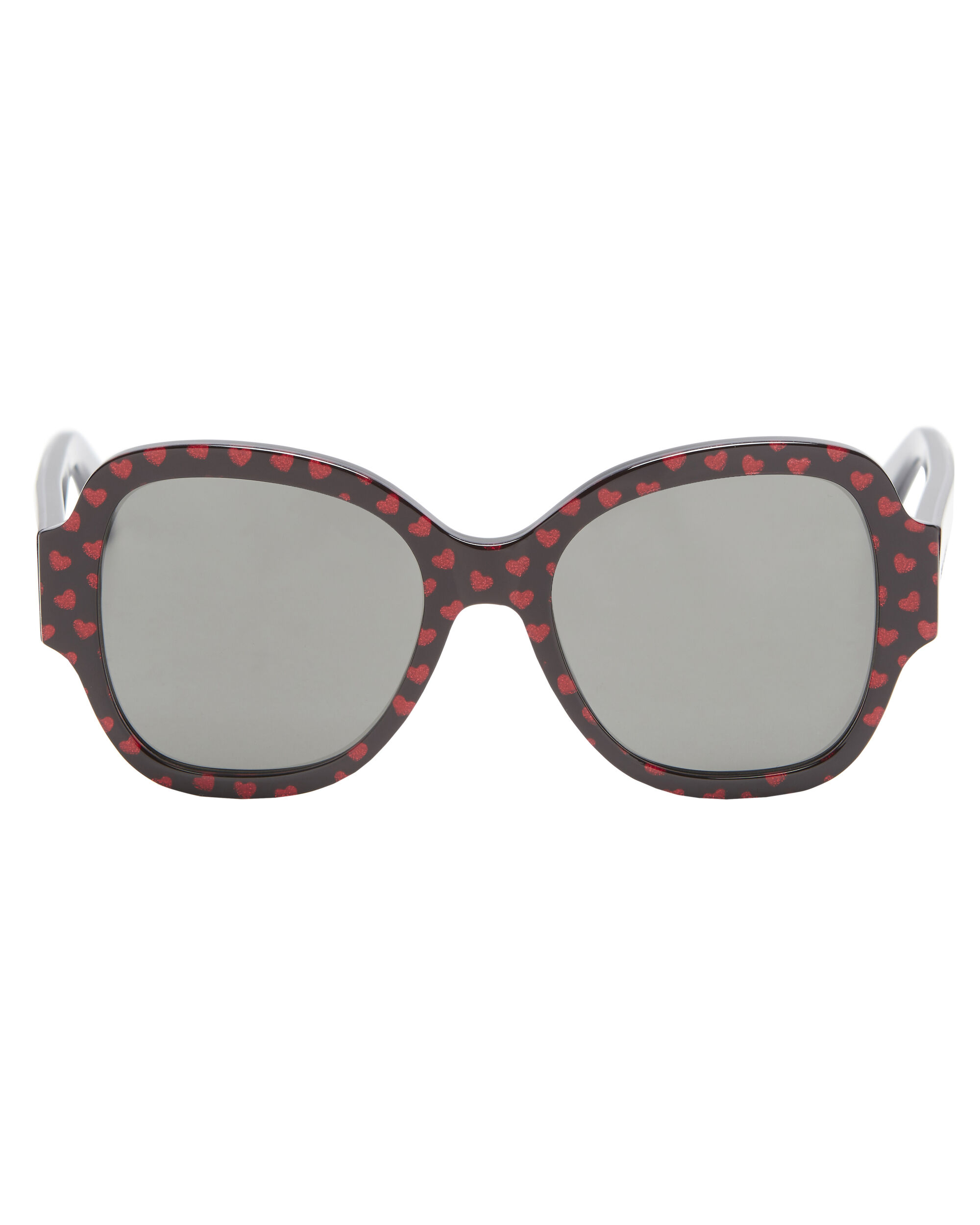 Heart Pattern Sunglasses, RED, hi-res