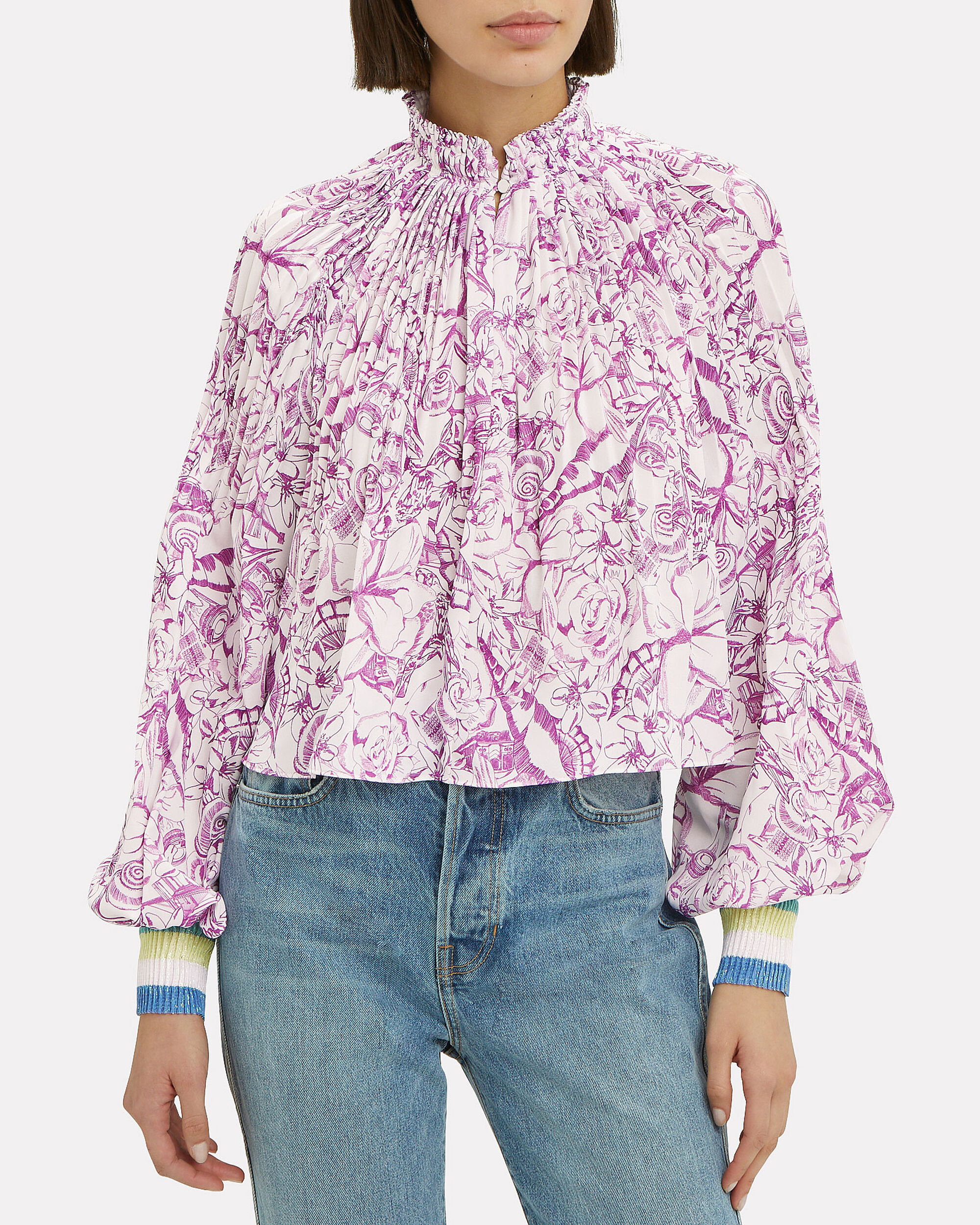 Isa Toile Cropped Top, VIOLET/WHITE, hi-res