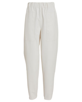 Tapered Faux Leather Pant, WHITE, hi-res