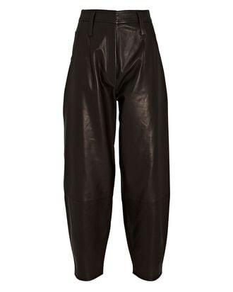 Leather Barrel-Leg Pants, BLACK, hi-res