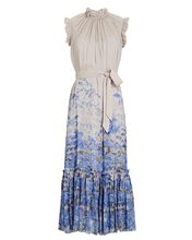 Luminous Sleeveless Floral Dress, MAUVE/BLUE, hi-res