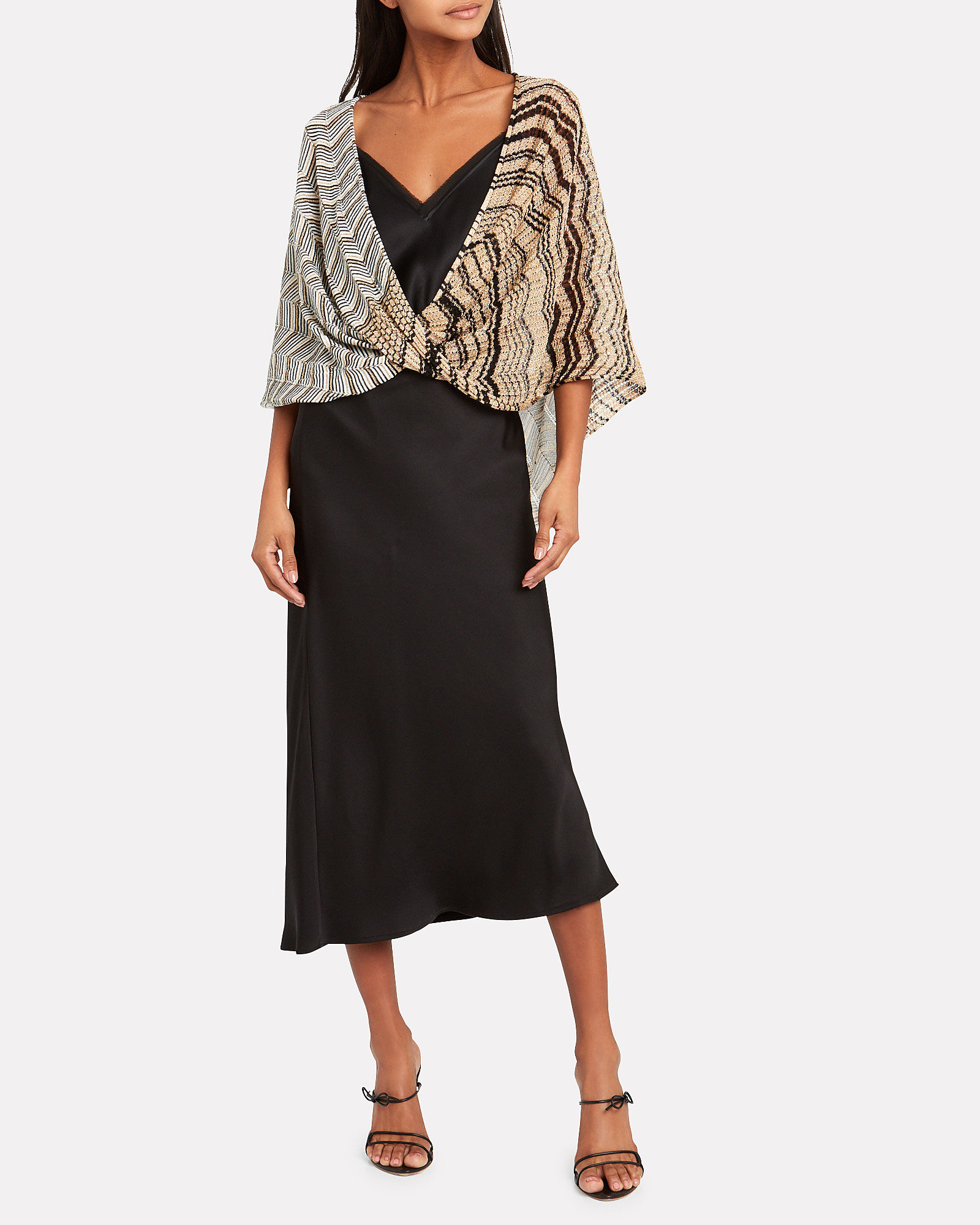 Chevron Lurex Knit Poncho, GOLD, hi-res