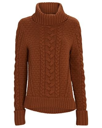 Sereia Cable Knit Turtleneck Sweater, BROWN, hi-res