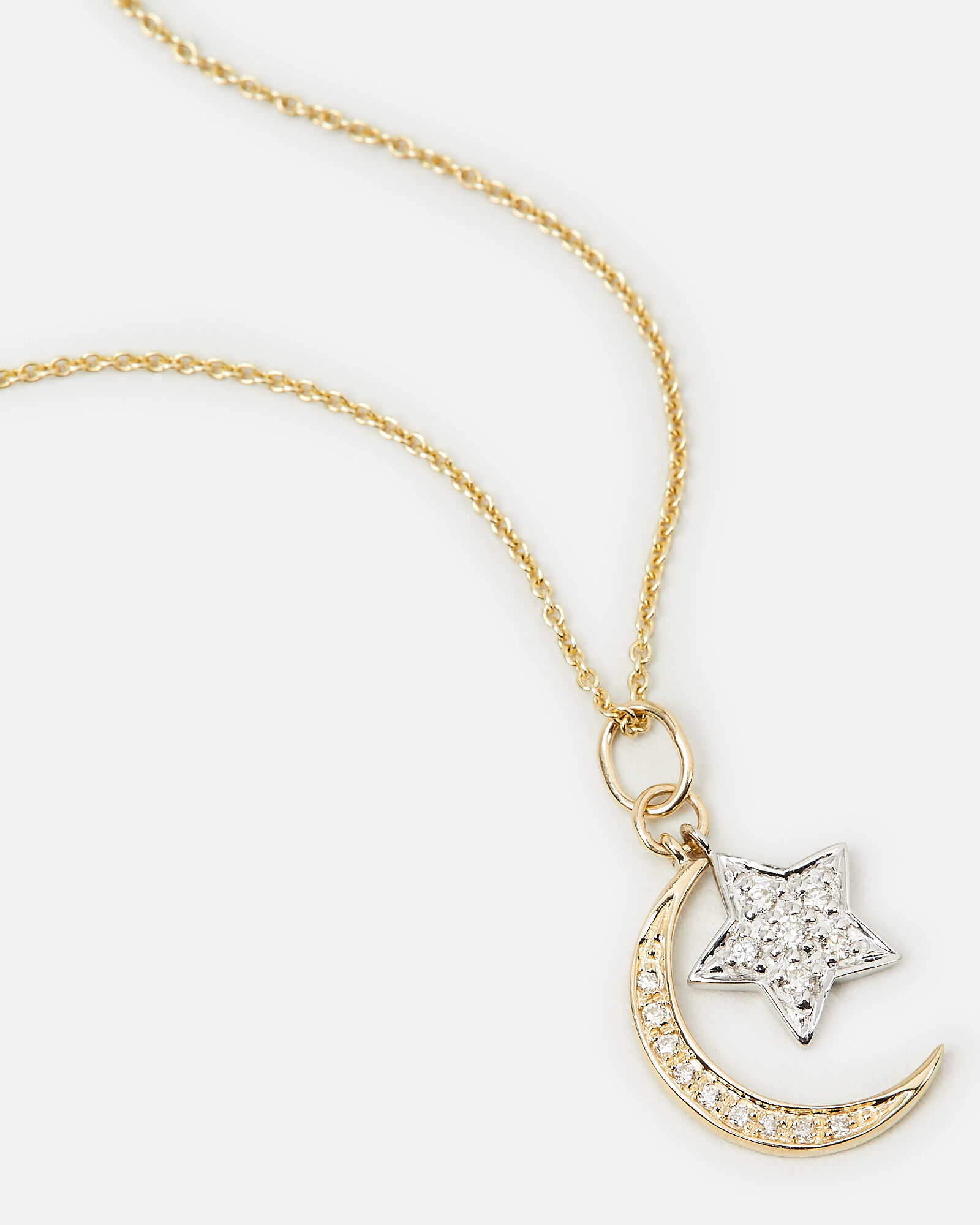 Moon And Star Diamond Necklace, GOLD, hi-res