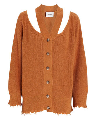 Hee Oversized Cold-Shoulder Cardigan, ORANGE, hi-res