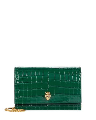 Small Skull Leather Bag, GREEN, hi-res