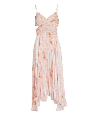 Lumi Cut-Out Pleated Midi Dress, BLUSH, hi-res